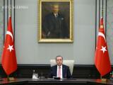 Recep Tayyip Erdogan, presedintele Turciei, sub portretul lui Ataturk