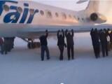 avion, pasageri, impins, inghet