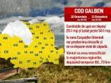 COD GALBEN si 4 zile de ploi, vant si frig. Deasupra Romaniei se ciocnesc un ciclon din Mediterana si un anticiclon din Nord