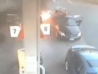 Momentul in care o femeie sare sa scoata copiii dintr-o masina la un pas sa explodeze! Ce s-a intamplat intr-o benzinarie