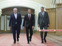 Liviu Dragnea (S), Sorin Grindeanu (D) si Marian Neacsu (D) sosesc la Consiliul National Executiv National al Partidului Social Democrat, in Bucuresti, miercuri, 22 februarie 2017.