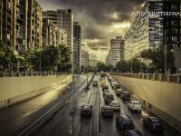 ploaie in Bucuresti, trafic pasajul Victoriei