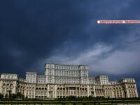 Cladirea Casei Poporului, care gazduieste Parlamentului Romaniei cu cele doua camere ale sale, Senatul si Camera Deputatilor, in Bucuresti