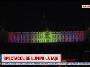 Concurenti din 5 tari au proiectat pe fatada Palatului Culturii din Iasi lumini si forme tridimensionale.Ce echipa a castigat