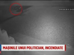 Masinile unui fost candidat UNPR la primarie, incendiate de un necunoscut. Ce au surprins camerele de supraveghere