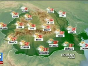 Vreme calda, cu temperaturi de peste 32 de grade in Lunca Dunarii. In vest vor fi ploi si descarcari electrice