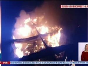 Zeci de km liniari de acte au ars in arhiva din Ilfov, cuprinsa de flacari. Pompierii se lupta cu focul de peste 12 ore