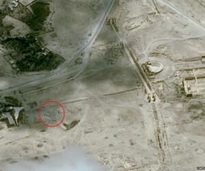 distrugere templu Palmira, imagine din satelit