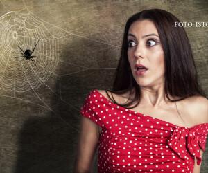 femeie speriata de un paianjen