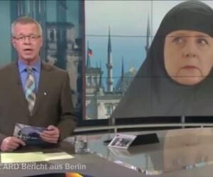 Angela Merkel, fotografie modificata in care poarta val