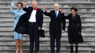 TUS First Lady Melania Trump, President Donald Trump, Vice President Mike Pence and Karen Pence wave goodbye to Barack and Michelle Obama on the West Front of the US Capitol in Washington, DC, USA, 20 January 2017