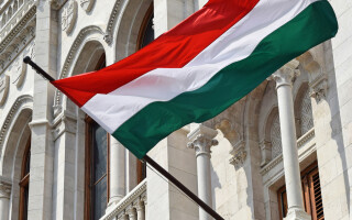Hungarian flag in Parliament building in Budapest