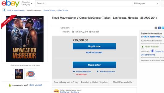 FABULOS! Cu ce pret se vinde online un bilet la lupta dintre McGregor si Mayweather