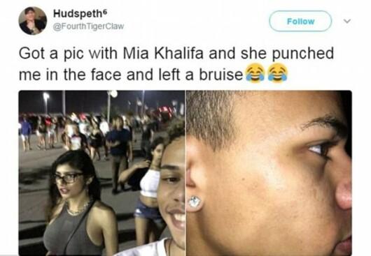 Ce a patit un barbat care a vrut sa-si faca selfie cu starleta Mia Khalifa pe strada