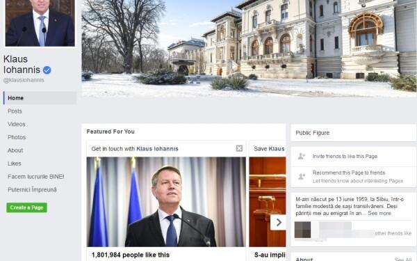 Klaus Iohannis pe Facebook