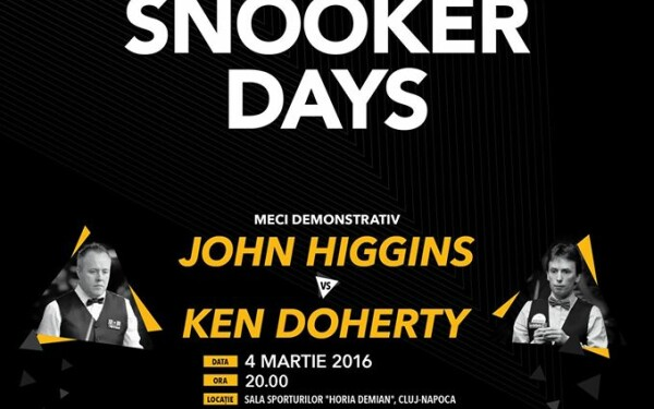 Snooker de talie mondiala in martie la Cluj. John Higgins si Ken Doherty vin la BETFAIR ROMANIA SNOOKER DAYS