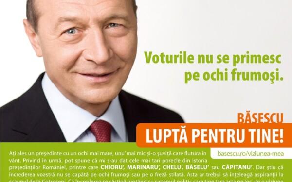 Basescu: Ati ales un presedinte cu un ochi mai mare, unu mai mic