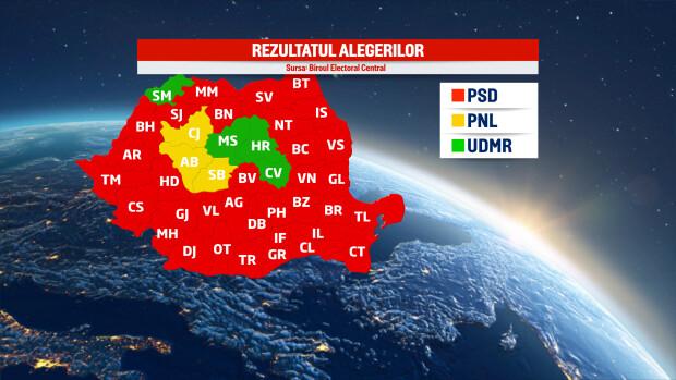 Harta rezultate alegeri parlamentare 2016