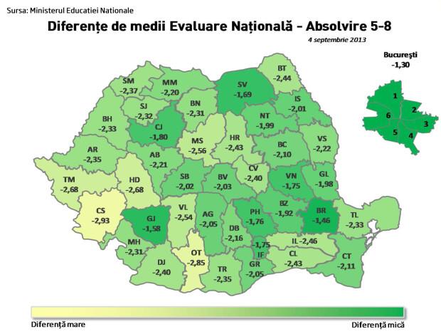 harta cele mai bune scoli din Romania