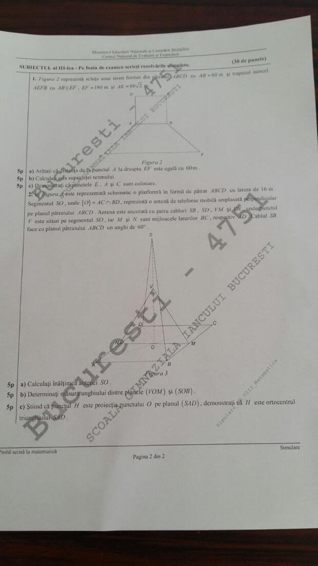 subiecte simulare evaluare nationala VIII, matematica