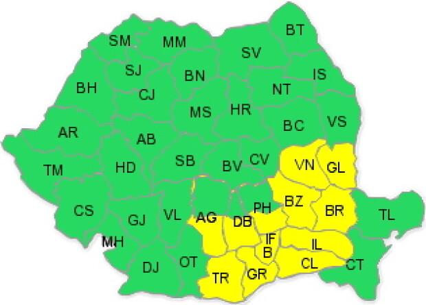 Harta ANM, in vigoare de vineri 25.01 ora 20 pana sambata 26.01 ora 04