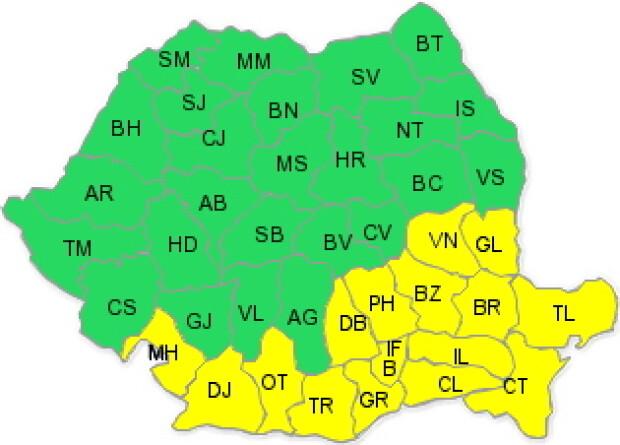 Harta ANM, pentru intervalul 26 ianuarie ora 04 - 26 ianuarie ora 14