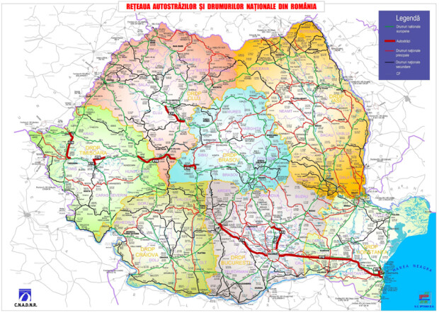 Reteaua autostrazilor si drumurilor nationale