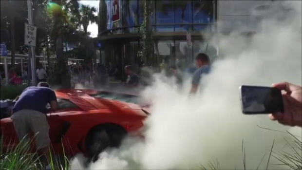 Lamborghini up in flames