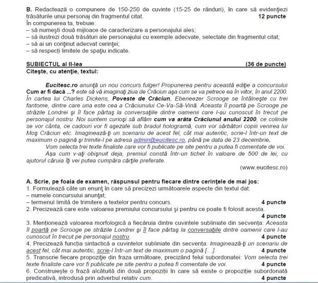 Subiecte evaluarea nationala 2013 limba romana