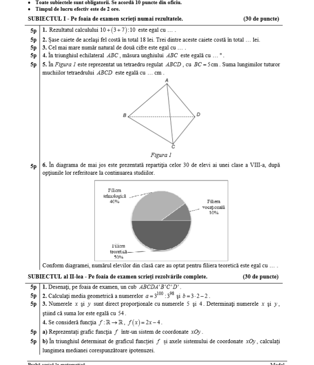evaluare nationala 2017 matematica subiectele si barem pentru examenul la matematica foto. Black Bedroom Furniture Sets. Home Design Ideas