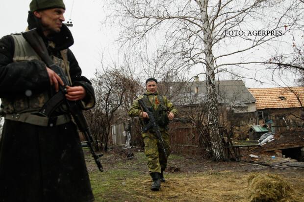 militii in Zaiteve, regiunea Donetk