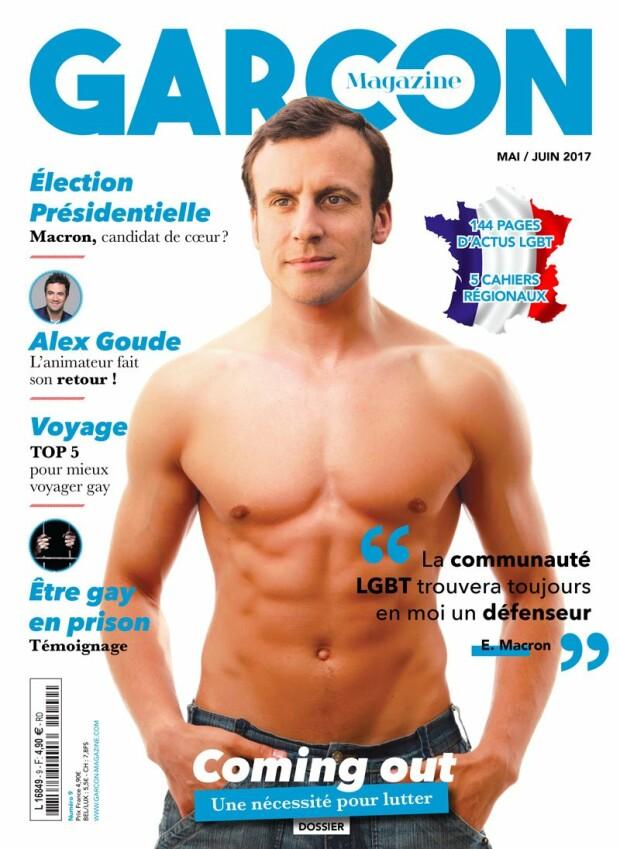 Macron la bustul gol, coperta-colaj