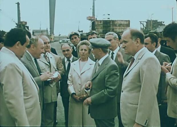 Ceausescu pe santierul naval