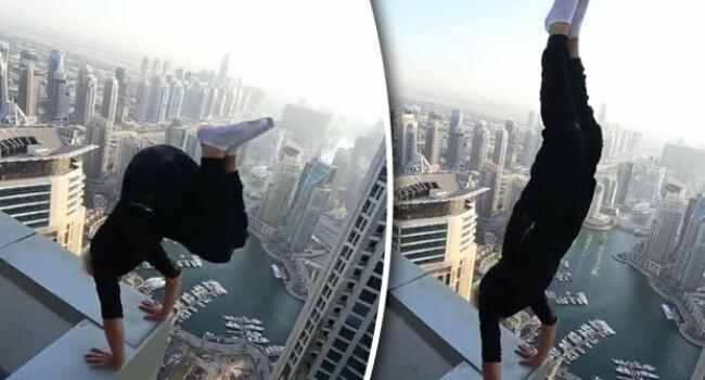 Imaginea aceasta este REALA! Cum a putut sa stea un barbat pe acoperisul unui hotel