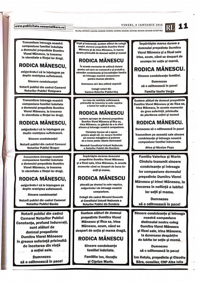 Anunt deces Rodica Manescu