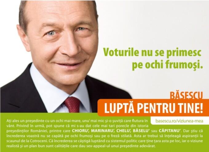 Basescu: Ati ales un presedinte cu un ochi mai mare, unu