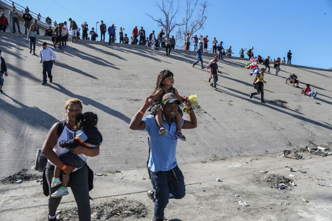 Migrants from Central America tried to drive the US border to Tijuana, North-West Mexico,