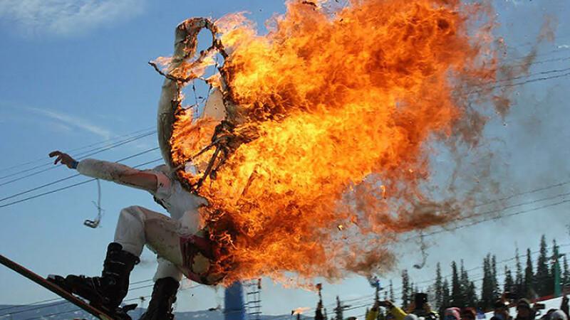 Si-a dat foc pentru a castiga o competitie si un premiu de 350 de dolari. Gestul extrem facut de un sportiv rus. VIDEO