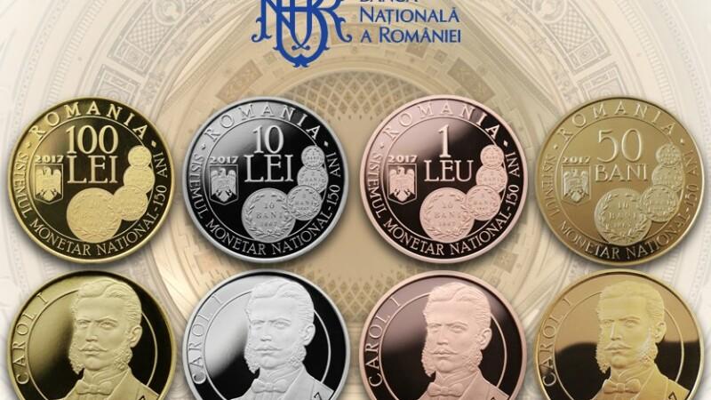 BNR lanseaza 4 monede din aur, argint, tombac cuprat si alama, la 150 de ani de la infiintarea sistemului monetar romanesc