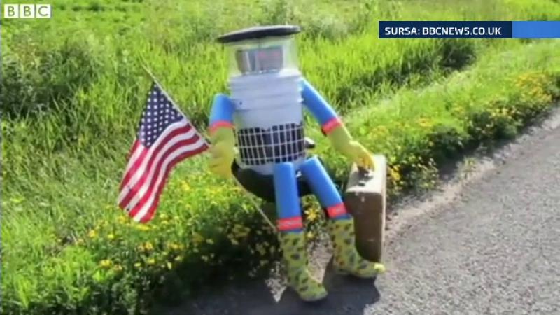 Robotul care face autostopul pentru a se plimba prin toata lumea, atacat de un american. Unde a calatorit pana sa fie distrus