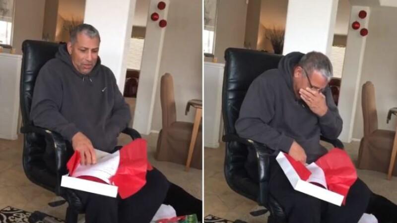 Reactia acestui barbat dupa ce deschide cadoul de Craciun. Clipul care a sensibilizat sute de mii de oameni pe internet