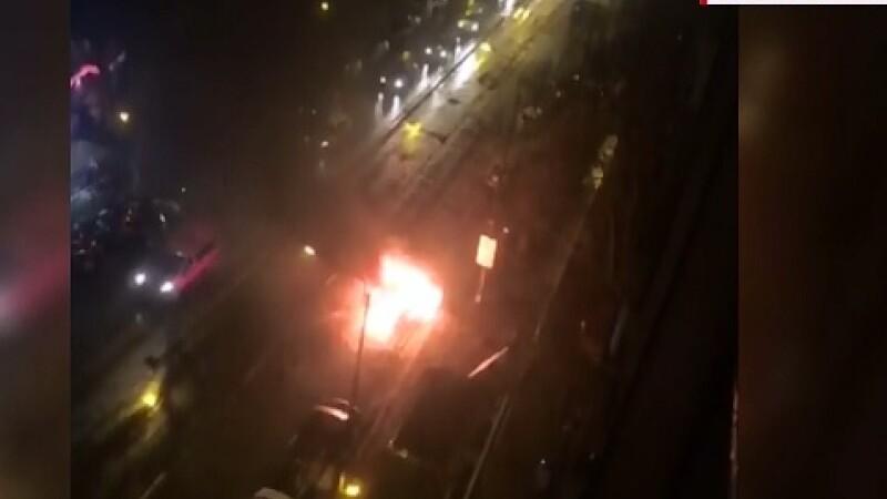 Un sofer din Timisoara a trait momente de groaza. Masina pe care o conducea a luat foc, in mers