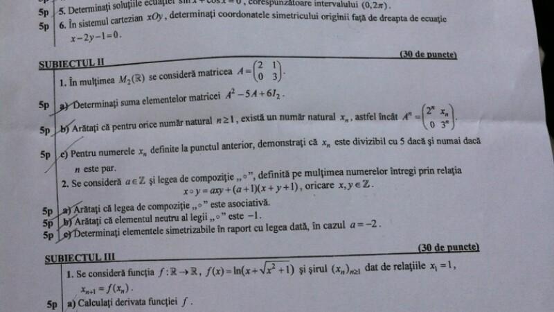 Simulare Bacalaureat 2013. Subiectele la matematica, profilul mate-info