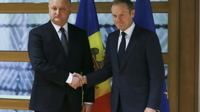 Dodon, dupa intrevederea cu Tusk: Am propus negocieri trilaterale UE, Republica Moldova, Federatia Rusa