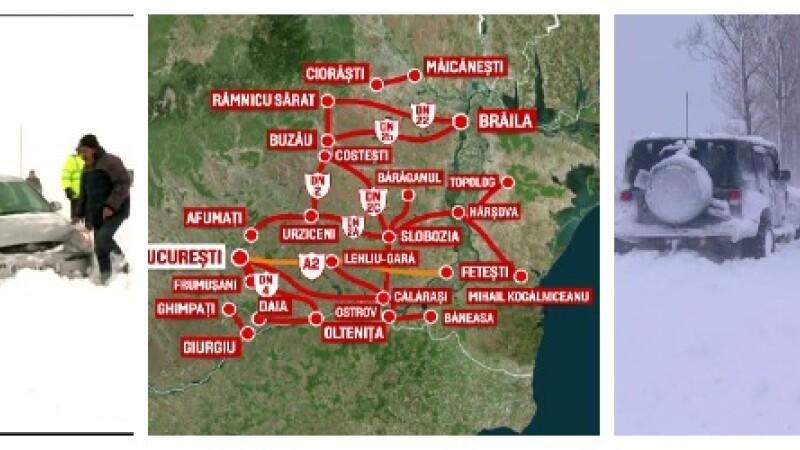 HARTA drumurilor nationale impracticabile din cauza viscolului. Aproape 100 de persoane au ramas blocate in masini