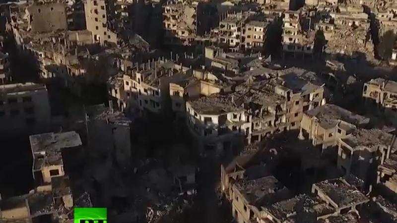 Al treilea cel mai mare oras sirian e o RUINA. Imaginile devastatoare surprinse in Homs cu o drona. VIDEO