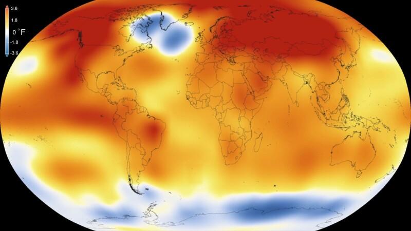 Anul 2015, cel mai cald la nivel global din 1880 pana in prezent. Animatia NASA care arata cum au crescut temperaturile