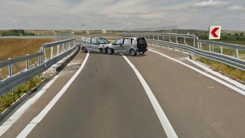 ANIMATIE GRAFICA. Doi oameni au murit dupa impactul intre doua masini, pe autostrada, langa Lugoj. Ce a provocat accidentul