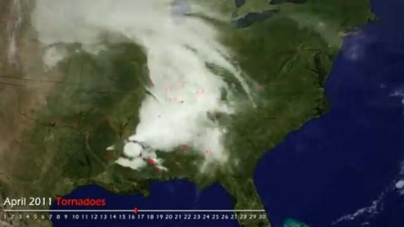 Imagini din satelit. Vezi cum arata 625 de tornade. VIDEO
