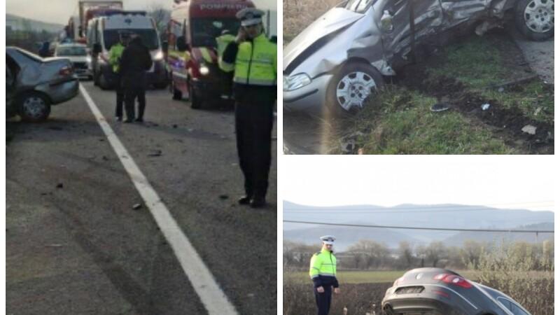 Accident grav in Bistrita. Un sofer s-a angajat in depasirea unui camion si a provocat moartea unui barbat. FOTO
